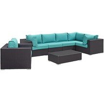 Convene 7 Piece Outdoor Patio Sectional Set Espresso Turquoise EEI-2157-... - $2,381.75
