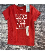 Cat & Jack S 6 6x Love For All Graphic T-Shirt Red Small - $9.25