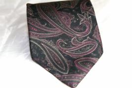 Robert Talbott 100% Silk Mens Necktie Dark Gray Lavendar Paisley - $10.93