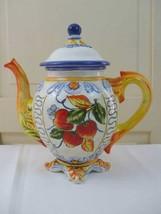 Italian Fruit Tuscan Style 72oz Teapot Strawberries Blue Yellow Orange 1... - $39.55