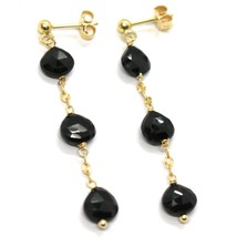 18K YELLOW GOLD PENDANT EARRINGS, BLACK SPINEL DROP, 1.77 INCHES image 1