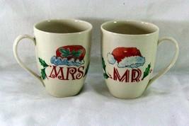 Lenox Holiday Dimension Shape Mr And Mrs Santa Mugs - $14.39