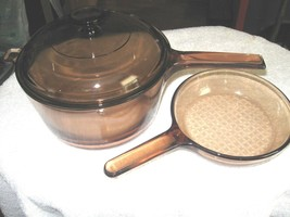 "Mid Century Vision Glass 7"" Waffle Bottom Skillet Frying Pan & 2 1/2 Qt. Pan - $64.35"