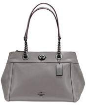 NWT COACH Turnlock Edie Mixed Leather Dark Gunmetal/Heather Grey 20165 P... - £189.01 GBP
