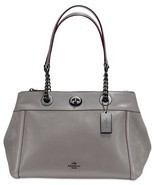 NWT COACH Turnlock Edie Mixed Leather Dark Gunmetal/Heather Grey 20165 P... - €208,79 EUR