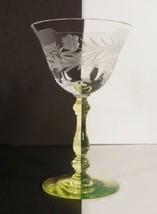 Tiffin Franciscan Vaseline Glass Liquor Cocktail Goblet Stem #15001 - $21.73