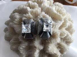 Vintage Art Nouveau Ermani Bulatti Silver tone Clip On Earrings Signed - $58.75