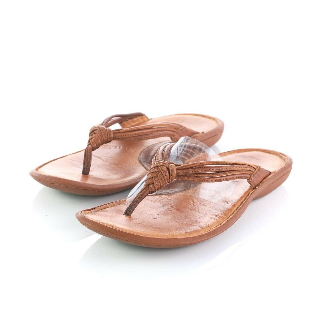 Born Brown Leather Flip Flops Thong Style Sandals Casual Shoes Womens 10 M image 2