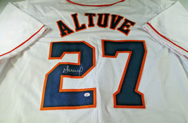 JOSE ALTUVE / AUTOGRAPHED HOUSTON ASTROS WHITE CUSTOM BASEBALL JERSEY / COA