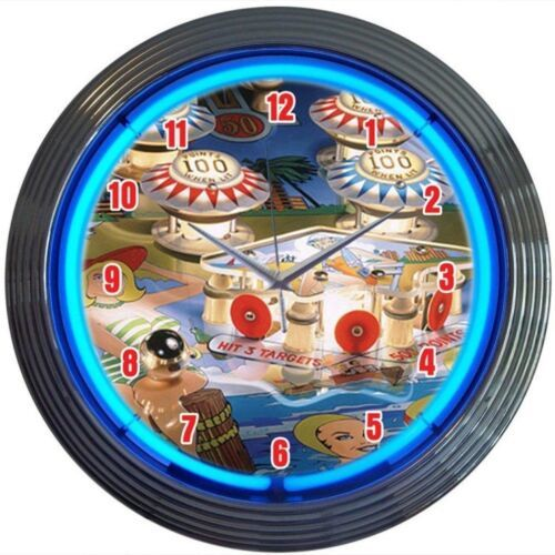 "Primary image for Pinball Play Room Neon Clock 15""x15"""