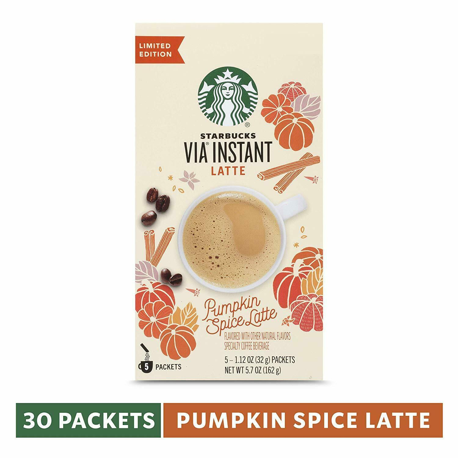 Primary image for STARBUCKS VIA INSTANT PUMPKIN SPICE LATTE 5CT (PACK OF 6)