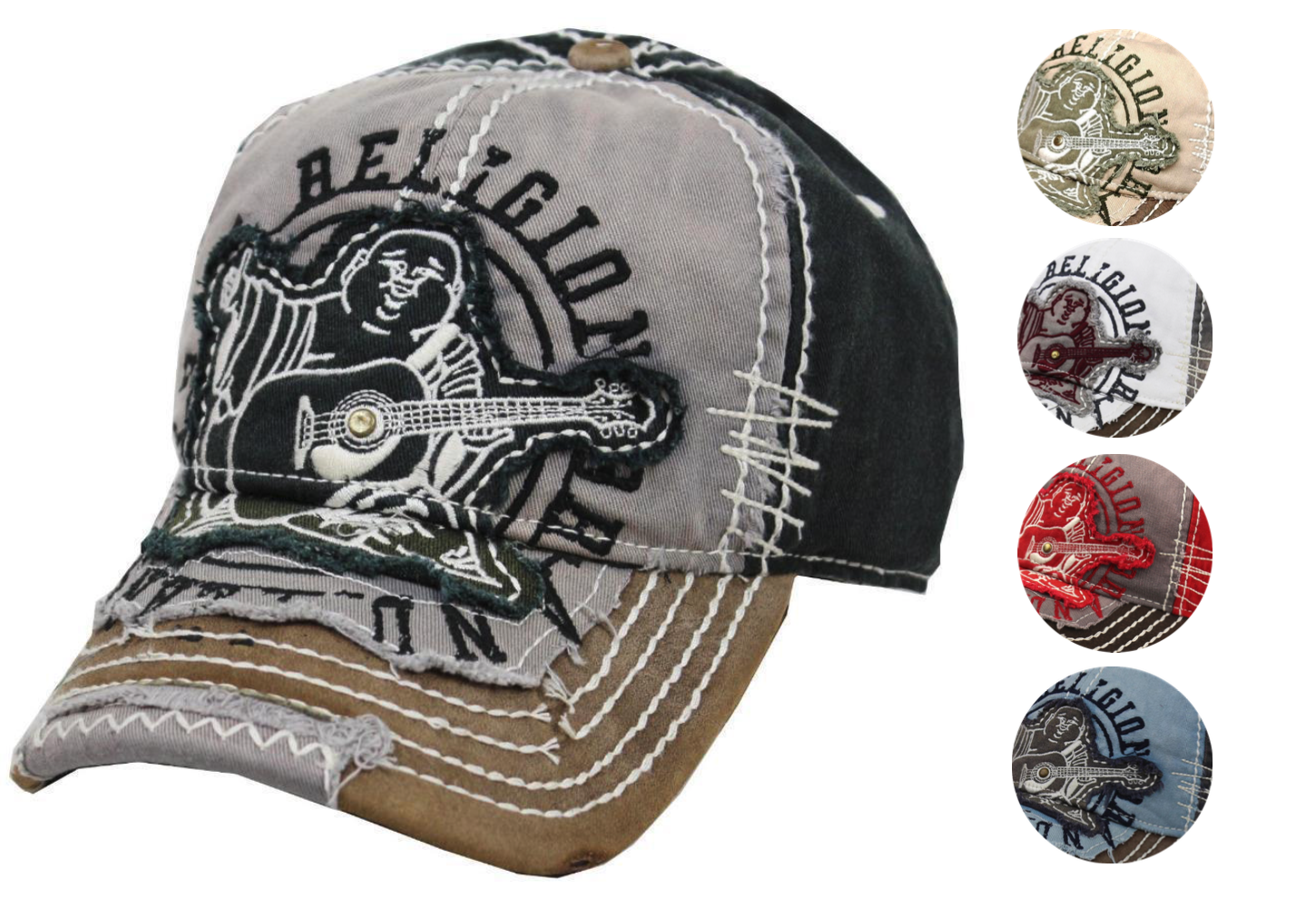 True Religion Men's Premium Vintage Distressed Buddha Trucker Dad Hat Cap TR1101