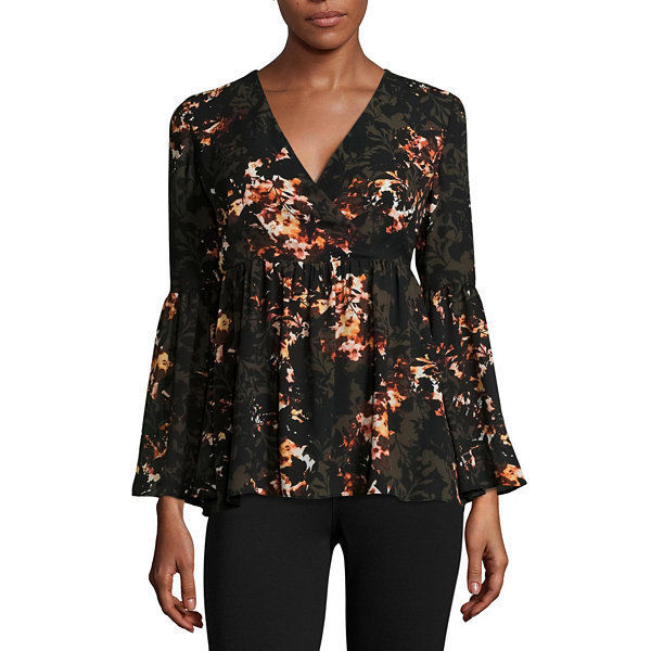 a.n.a Bell-Sleeve Wrap-Front Ruffle Blouse Size M New Msrp $44.00