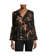 a.n.a Bell-Sleeve Wrap-Front Ruffle Blouse Size M New Msrp $44.00 - $16.99