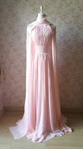 Baby Pink Halter Neck Sleeveless Maxi Cocktail Dress Chiffon Aline Evening Dress