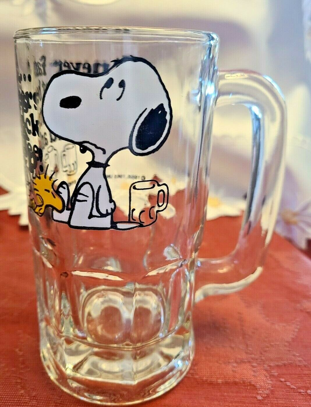 "Vintage SNOOPY Woodstock Peanuts ""Too Much Root Beer"" GLASS DRINKING MUG 1965"
