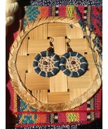 Tribal blue circle dange earrings with wood beads, Handmade jewelry - $16.00