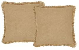 2 Burlap Natural European Shams - Soft Cotton Fabric w/Fringed Ruffle - VHC