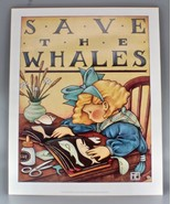 Mary Engelbreit ME Art Print Poster Save The Whales Vtg 1984 20x16 OOP R... - $299.00