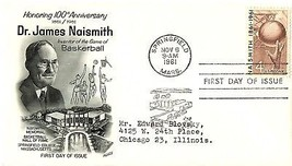 November 6, 1961 First Day of Issue, Fleetwood Cover, James Naismith, Ba... - $1.09