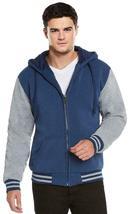 Men's Hooded Soft Sherpa Fleece Lined Varsity Zip Up Two Tone Hoodie Jacket image 7