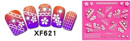 Nail Art 3D Stickers Stones Design Decoration Tips Flowers White Black X... - $2.89