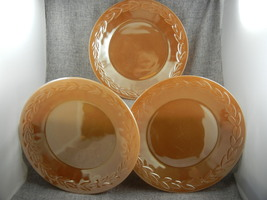 Fire King Anchor Hocking 9 inch plates Peach Lustre Laurel Leaves Set of 3  USA - $30.00