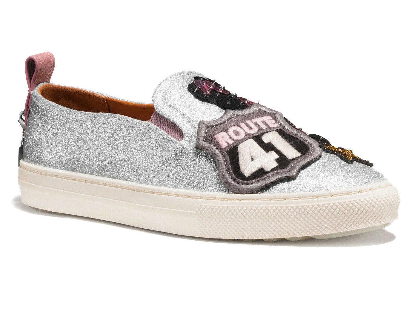 Coach Women's Slip On Skate Shoes Fashion Sneakers C115 Cherry Glitter Silver