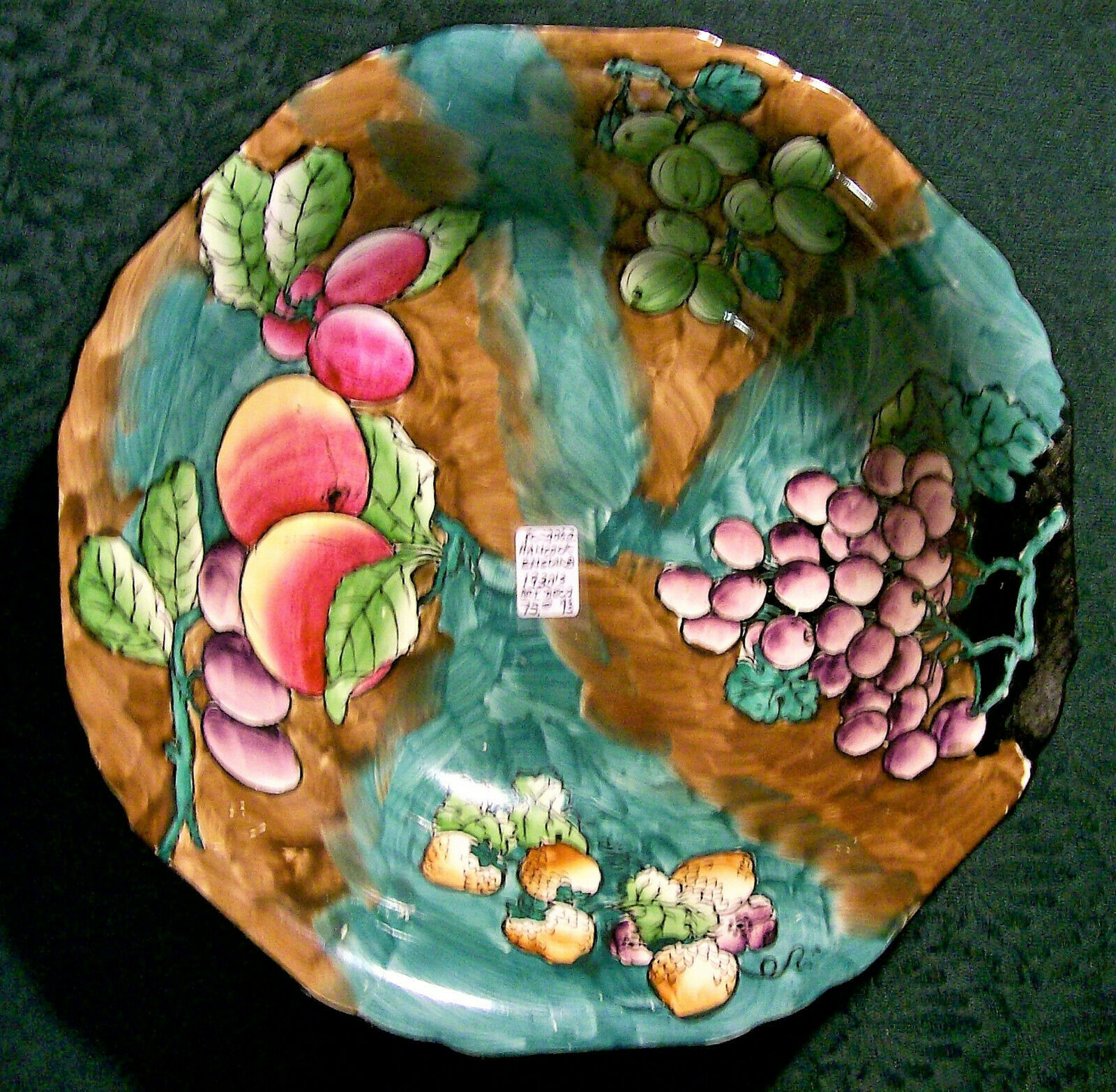 "Primary image for Vintage Hancock Coronaware Art Deco Bowl Hand-Painted Fruit Turquoise 9.5""D"