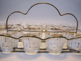 Vintage Roman Goddess Drinking/Bar Glasses in Caddy, Gold-White-Clear - $44.55