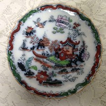Antique, Ashworth Bros., England, Gaudy Blue Willow, Round 5.5in Bread P... - $28.45