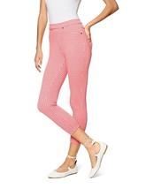 HUE U17960 Gingham Denim Capri LEGGINGS TART Pink ( XS ) FREE SHIPPING - $66.78