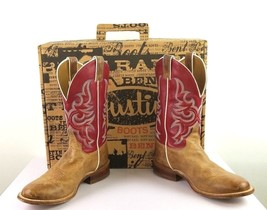 Justin Bent Rail Mens Boots Arizona Tan BR345 Size 7 1/2 EE Red - $70.11