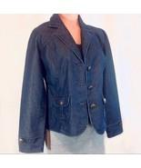 French Cuff Dark Wash Blue Denim Jean Jacket Medium EUC - $21.00