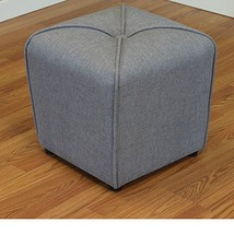 ModHaus Living Modern Linen Upholstered Footstool Ottoman with Thick Foa... - $102.70