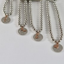 SILVER 925 BRACELET JACK&CO WITH BEADS SHINY AND PENDANT GOLD PINK 9 CARATS image 2