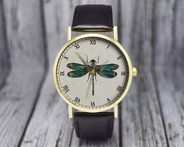 Vintage Dragonfly Watch | Classic Leather Watch | Ladies Watch | Men's W... - $20.00