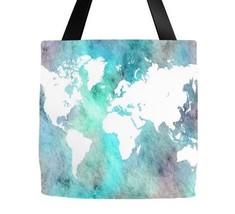 Tote bag All over print Design 62 World Map Aqua blue Turquoise L.Dumas - $26.99+