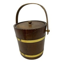 """Vintage medium size Ice Bucket Barrel with lid and liner 8"""" - $24.74"""