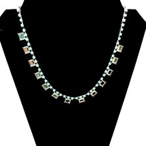 Lia Sophia Necklace Pendant Silver Tone Teal Blue Beads Clear Crystals D... - $18.80