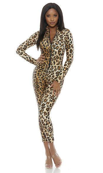 Forplay Leopard Zipfront Overall Catsuit Adult Damen Halloween Kostüm 115100