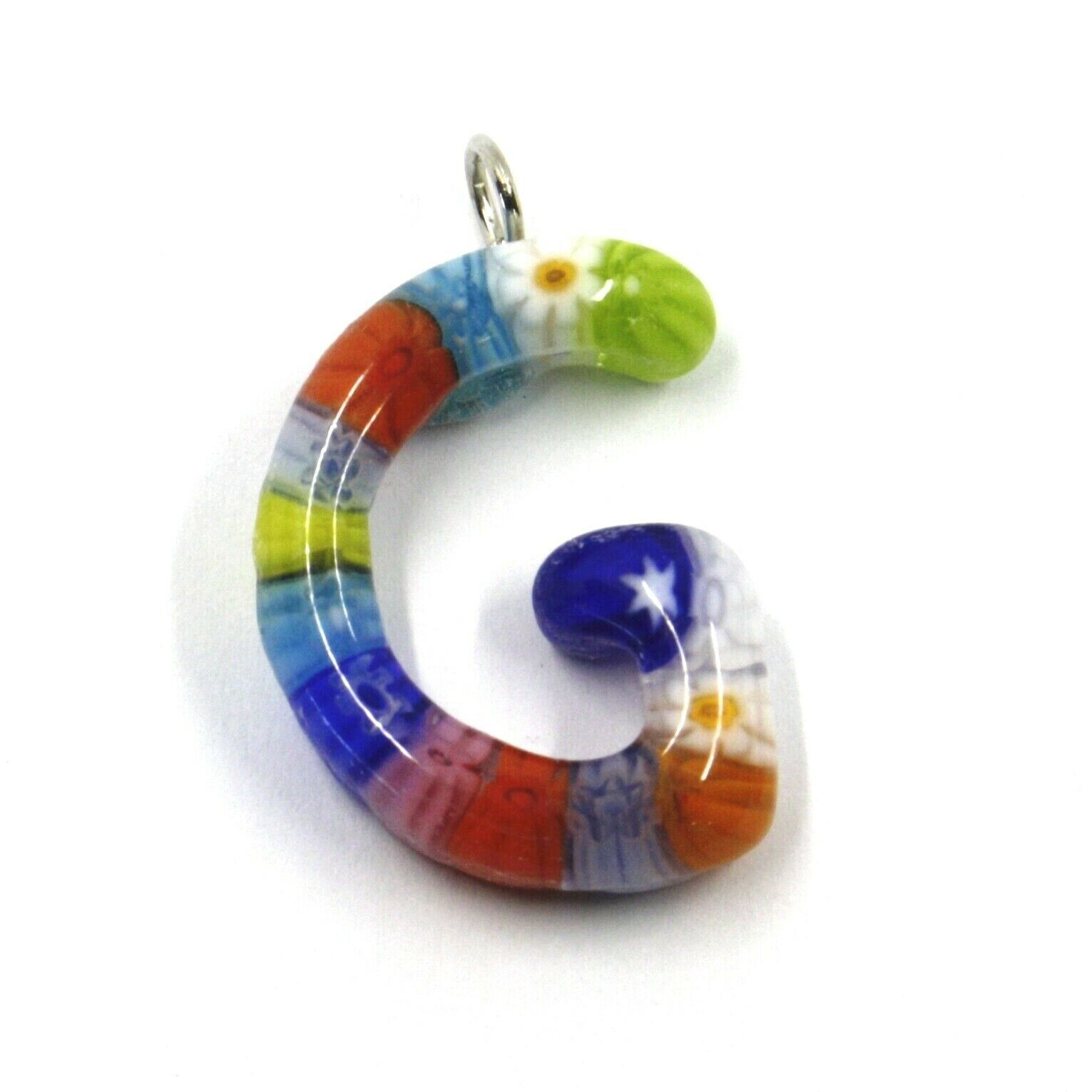 "LETTER G PENDANT MURANO GLASS MULTI COLOR MURRINE 2.5cm 1"" INITIAL MADE IN ITALY"
