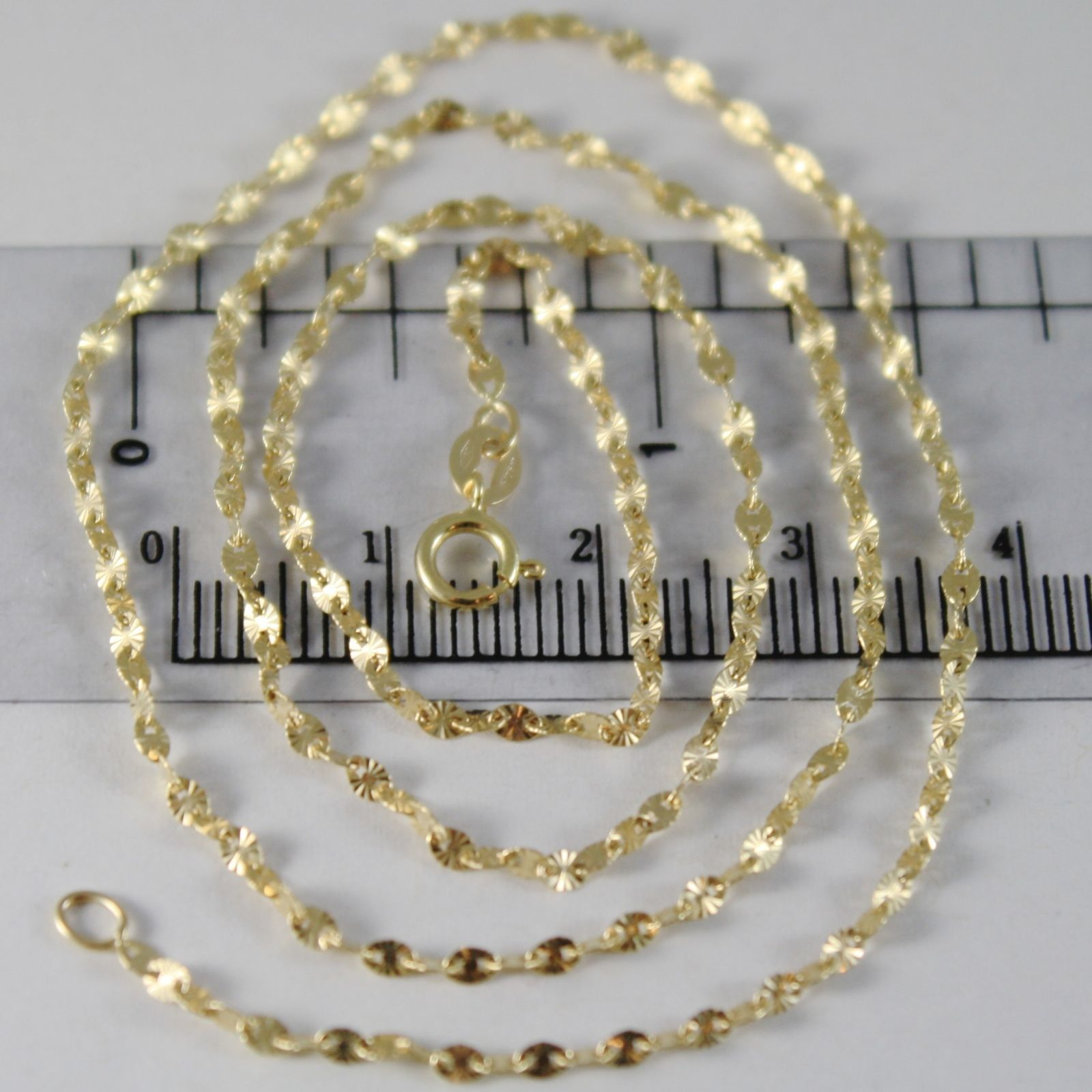 18K YELLOW GOLD CHAIN MINI STAR RAYS OVAL LINK 2 MM, 15.75 INCHES MADE IN ITALY