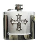 Men Buckle Rhinestone Cross 2oz Stainless Steel Flask Belt Buckle Gurtel... - $14.65