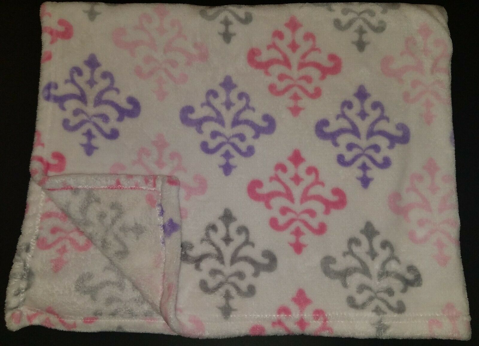 Primary image for Damask Fleece Baby Blanket Lovey Gray Pink Purple White Soft RUNT 1478