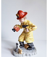 Firefighter Fireman Hero Figure Rescuing Mamma Cat & Kittens Lefton Chin... - $14.72