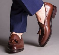 Handmade leather tassel shoes, men's stylish shoes, men's laofer, men brown shoe - $144.99+