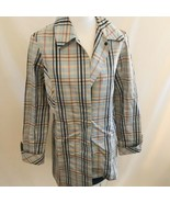 Mycra Pac Life Rain Trench Coat Size Small Blue Plaid Lightweight - $56.99