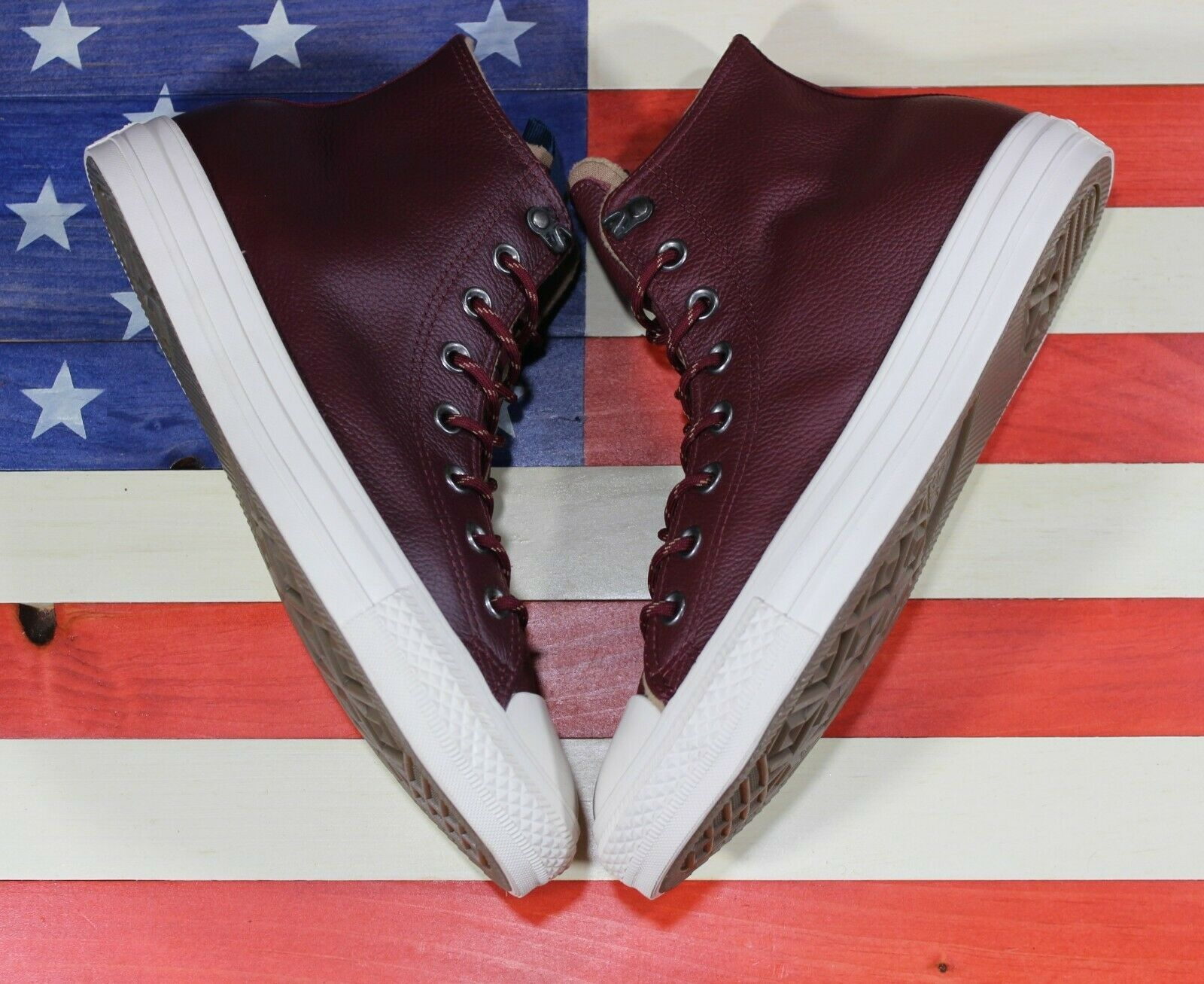 CONVERSE Chuck Taylor ALL-STAR HI SAMPLE Dark Burgundy Red Leather [162384C] - 9