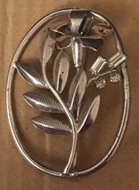 Vintage Sterling Rhinestone Scrolling Floral Vine Flower Leaf Pin Brooch... - $32.49